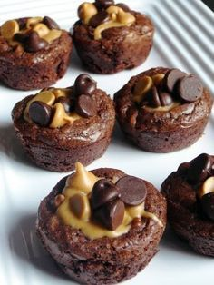 Peanut Butter Cup Brownies    Makes 40 brownies    Ingredients  1 box of your favorite brownie mix  1/2 cup peanut butter chips  1/2 cup semi-sweet chocolate chips  3/4 cup creamy peanut butter    Directions  Preheat oven to 350 degrees. Spray or grease 40 mini-muffin cups.