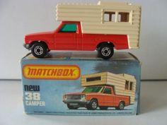 VINTAGE  MATCHBOX CAMPERS | Models - HTF VINTAGE MATCHBOX SUPERFAST #38 FORD CAMPER MIB 1979 was ... Tin Cans, Campers, Diecast, Traveling, Ford, Models, Vintage, Rolling Carts, Viajes