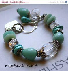 charm bracelet wedding bracelet aquamarine bracelet by molliecarey, $51.20
