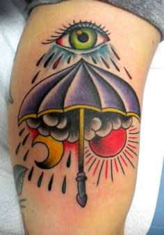 What does umbrella tattoo mean? We have umbrella tattoo ideas, designs, symbolism and we explain the meaning behind the tattoo. Boxing Tattoos, Leg Tattoos, Body Art Tattoos, Tattoos For Guys, Tatoos, Traditional Tattoo Themes, Picture Of Umbrella, Old School Tattoo Sleeve, Tattoo Tradicional