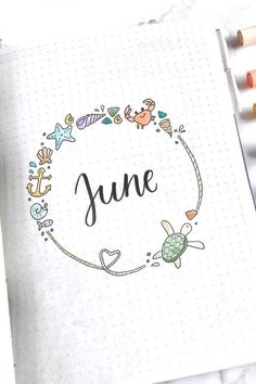 23 Must See June Monthly Cover Ideas For 2020 - Crazy Laura - - Starting a brand new month or theme in your bullet journal can be time consuming! Check out these adorable June monthly cover ideas for inspiration! Bullet Journal Tracker, Bullet Journal School, February Bullet Journal, Bullet Journal Cover Ideas, Bullet Journal Quotes, Bullet Journal Lettering Ideas, Bullet Journal Notebook, Bullet Journal Ideas Pages, Journal Covers