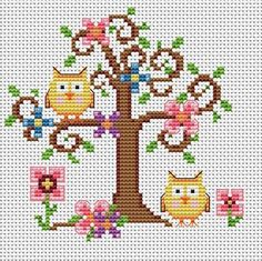Country Owls, really cute cross stitch pattern
