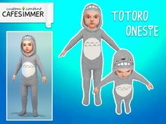Cute onesie for your toddlers, inspired by Totoro. Grey fluffy fabric with printed hood and tummy. Base game compatible.  Found in TSR Category 'Sims 4 Toddler Female'
