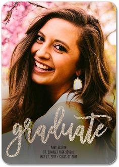 Shimmering Graduate - Glitter Graduation Announcements in White or Rich Black | Magnolia Press