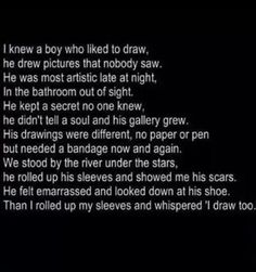 A poem/quote about cutting... Self harm is a secret.
