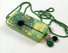 Spring Make a Wish Domino Pendant   Dandelion Make a Wish Pendant     Wish Jewelry   item 156