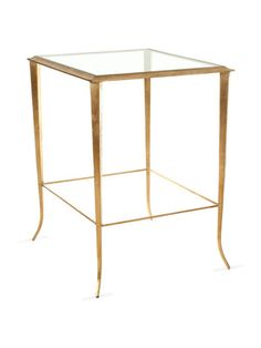 """TORY ACCENT TABLE by Safavieh on Gilt Home • Iron table with glass top • Elegantly curved legs, warm gold finish • 17""""W x 19-1/3""""D x 23-7/10""""H • Wipe with damp cloth • Imported ** Timeless grace and beauty. **"""