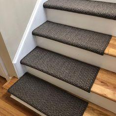 Aspen Moose or Caribou Wool True Bullnose™ Padded Carpet Stair Tread Runner Repla. Aspen Moose or Caribou Wool True Bullnose™ Padded Carpet Stair Tread Runner Replacement Styl Striped Carpet Stairs, Patterned Stair Carpet, Striped Carpets, Staircase Carpet Runner, Carpet Stair Treads, Beige Carpet, Modern Carpet, Small Lake Houses, Stairs Colours