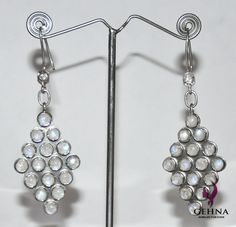 Natural Rainbow Moonstone Gemstone Studded Beautiful Pair Of Earrings Made In .925 Sterling Silver - Query At - gehnastore@gmail.com