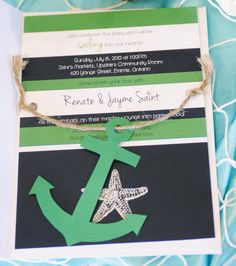 Out to Sea Nautical Themed Baby Shower   The invitations also stated that instead of bringing a card that will only be read once, to buy a book and write in the book instead.  Matching inserts were added to the invite so guests could write on that.