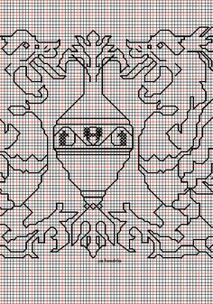 """working drawing 2 for the Assisi embroidery design """"winged beasts around vase"""""""