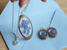 Wooden hydrangea earrings flower necklace blue dried flowers rustic eco jewelry hydrangea pressed flowers herbarium wooden Jewelry set by sincereworkshop on Etsy