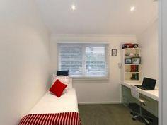 Modern bedroom design idea with carpet & built-in desk using white colours - Bedroom photo 328123