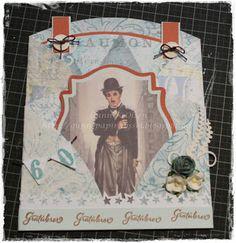 Gunns Papirpyssel, Charlie Chaplin, papirbretting, paperfolding, papir, paper, kort, card, bursdag, birthday, scrapbooking, scrapping