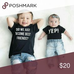 (new) siblings tees $18 includes both shirts. Perfect for brothers and sisters!  Shirts are made of 100% cotton for a high quality & comfortable fit!   NOTE: With Poshmark setting you can only select one size shirt. So once you place your order COMMENT details for BOTH shirts.  °Pre Shrunk.       °No tags Made in the USA Shirts & Tops Tees - Short Sleeve