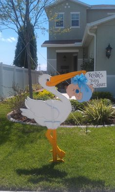 Items similar to Yard Stork for Baby Shower or Birth Announcement on Etsy Baby Shower Deco, Shower Bebe, Baby Shower Games, Baby Shower Parties, Baby Boy Shower, Baby Stork, Stork Baby Showers, Baby Shawer, Storch Baby