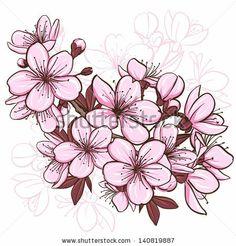 Cherry blossom. Decorative floral illustration of sakura flowers by Elena Terletskaya, via Shutterstock