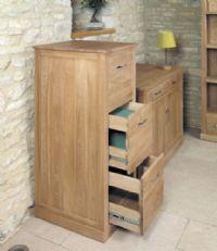 baumhaus mobel oak 3 drawer filing cabinet cor07d