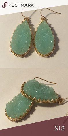 """Iced Blue Faux Druzy Earrings Stunning lightweight blue Rock Druzy style pear shaped earrings. Size: Height 1.25"""" Jewelry Earrings"""