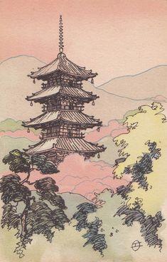 Pagoda, Nara Japanese Late Meiji era Artist Unidentified, Japanese, Publisher Nippon yûsen kaisha (NYK) Place of Creation: Japan Japanese Art Prints, Japanese Art Modern, Japanese Artwork, Aesthetic Art, Aesthetic Anime, Art Sketches, Art Drawings, Japon Illustration, Hippie Art