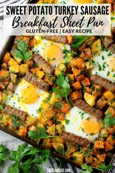 This Sweet Potato Turkey Sausage Breakfast Sheet Pan is perfect for meal-prepping, Sunday brunch, or anytime you want something healthy, delicious, & gluten-free! Turkey Breakfast Sausage, Breakfast Sausage Recipes, Turkey Sausage, Brunch Recipes, Brunch Ideas, Dinner Ideas, Dinner Recipes, Sweet Potato Benefits, Breakfast For Dinner