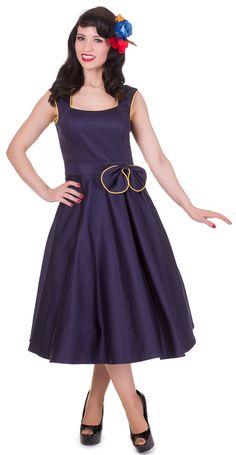bc62cc53ef7 Harriet Vintage Swing Dress in Navy Blue Yellow