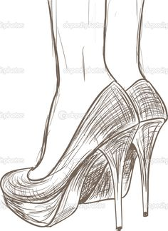Sketches high heels | Shoes sketch — Stock Vector © Gatina Kadriya #13405236