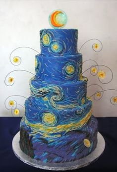 "Another tier cake inspired by Vincent Van Gogh's ""Starry Night"" painting. I love the little dangly bits...or whatever their technical name is! Really captures the spirit of motion of the original piece. ... #DoctorWho"