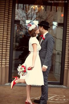 short wedding dresses- replace the red with yellow/ blue and man's suit in khaki.. that's me :)