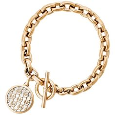 Michael Kors Monogram Toggle Bracelet ($155) ❤ liked on Polyvore featuring jewelry, bracelets, gold, michael kors, michael kors jewelry, gold monogram bangle, monogram bangle and gold jewellery
