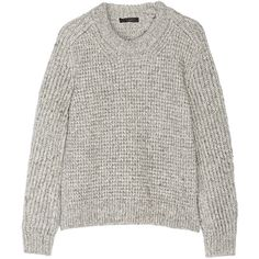 Belstaff Rorrington cotton and wool-blend sweater (3.846.135 IDR) ❤ liked on Polyvore featuring tops, sweaters, jumper, shirts, grey, waffle top, belstaff, waffle knit sweater, grey top and grey sweater