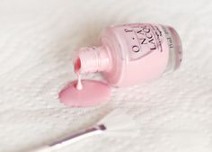 """OPI """"Pinking of You"""" Gorgeous color! The perfect """"pinkish"""" nude color for those days when you want to add a touch of girlyness to your outfits. I've had mine for quite a while, however, and it is starting to streak... :( Time to find a new favorite pink nude!"""