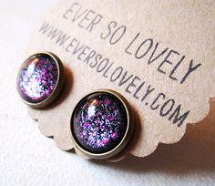 summer nights and starry skies - handmade black dark purple sparkly metallic nickel free post earrings
