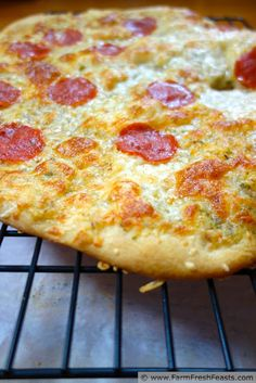 Buttermilk Crust Pizza with Pepperoni and Four Cheese Topping | http://www.farmfreshfeasts.com/2013/05/buttermilk-crust-pizza-with-pepperoni.html