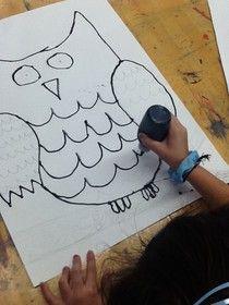 owl art...outline in black puff paint...watercolor paint inside