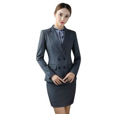 3a90c74c2 Uniform Design Blue Black Grey Formal Business Suits For Women Office Wear  Skirt and Blazers Set. Traje Formal MujerTrajes ...