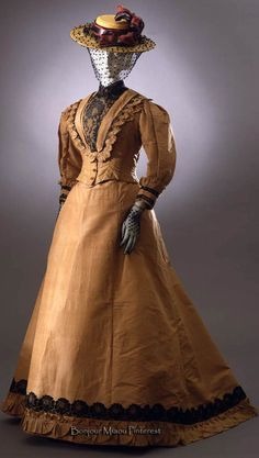 Two-piece walking dress ca. 1892–94. Tobacco-colored taffeta trimmed with black taffeta mechanical lace. Costume Gallery of the Pitti Palace via Europeana Fashion