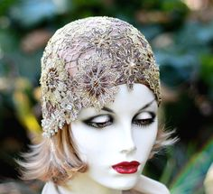 clapet de 1920 Hat New Years casque nuptiale mariage casque Aviator Cloche strass fil métallique or