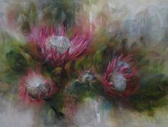 KINGS IN PINK. Proteas have a commanding presence, effortlessly regal. oil 120x90 cm. artist mariana zwaan
