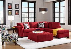 picture of Cindy Crawford Home Calvin Heights Cardinal 2 Pc Sectional  from Sectionals Furniture