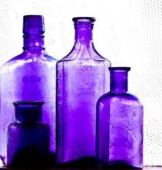 Vintage purple apothecary bottles - my favorite! Apothecary Bottles, Antique Bottles, Vintage Perfume Bottles, Bottles And Jars, Antique Glass, Glass Jars, Mauve, Colored Glass Bottles, Room Freshener