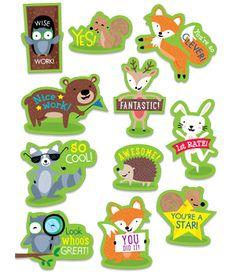 Students will love the cute critters on these Woodland Rewards stickers. Furry woodland friends (hedgehog, bear, fox, rabbit, owl, squirrel and raccoon) and motivational sayings will reward and encourage students' efforts and good behavior.