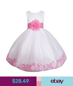 Girls' Clothing (Sizes 4 & Up) Girls Dress White Pink Flower Wedding Bridesmaid Christmas Holiday Kids 2-14 Nwt #ebay #Fashion