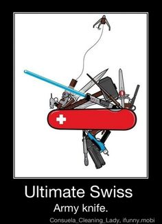 Ultimate Swiss army knife for geeks only. including Star Wars, Harry Potter, Doctor Who, Star Trek, Thro, James Bond, Firefly, Men in Black, Thundercats, Batman and Lord of the Rings