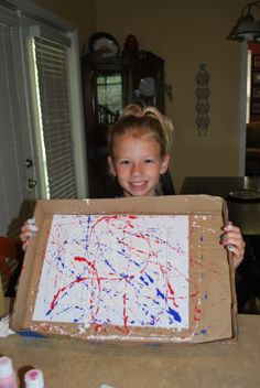 4th of July Craft-Painting fireworks using a marble.  This looks like fun!