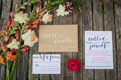 Colorful Preppy Rustic Wedding Invitations // Photographer: Teasley Photography / Flowers & Decor: Vintage Florals / Calligraphy: Noteworthy & Blue // see more: http://theeverylastdetail.com/2013/09/03/colorful-preppy-rustic-wedding-inspiration/