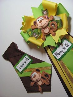 Monkey Baby Shower Corsage / Safari Baby by NewHeavenBoutique Distintivos Baby Shower, Lion King Baby Shower, Fiesta Baby Shower, Baby Shower Parties, Baby Shower Themes, Baby Shower Gifts, Bridal Shower, Shower Ideas, Baby Shower Safari