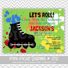 Rollerblade Personalized Party Invitation-personalized invitation, photo card, photo invitation, digital, party invitation, birthday, shower, announcement, printable, print, diy,roller blade, roller blades, skate, skating, roller skating