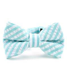Mint Stripe Seersucker Bow Tie