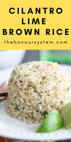 This easy, healthy recipe for Cilantro Lime Brown Rice is the BEST way to enjoy Chipotle's at home! Learn how to make this vegan copycat Mexican side dish. Vegan Brown Rice Recipes, Chipotle Rice Recipes, Healthy Rice Recipes, Healthy Side Dishes, Whole Food Recipes, Vegetarian Recipes, Recipes With Brown Rice, Healthy Mexican Sides, Soup Recipes